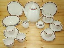 Scherzer Tea Set-Red/Platinum-Coffee/Tea Pot-Creamer-Sugar-Cup/Saucer/Plate-23pc