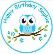 "OWL 7.5"" ROUND BLUE OWL Edible Icing Cake Topper Birthday or Retirement"