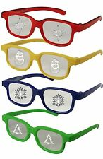 Plastic Christmas Glasses Holiday Eyes KIDS 4 PAIRS Snowman Tree Snowflake Star