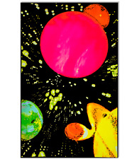 HYPER SPACE - BLACKLIGHT POSTER - 23x35 FLOCKED SOLAR SYSTEM PLANETS GALAXY 6041