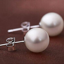 white  10mm south sea shell pearl Sterling Silver Stud earrings AAA+
