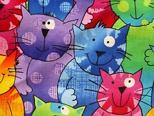 CATS Fabric Fat Quarter Cotton Craft Quilting Multi Coloured Happy Waving