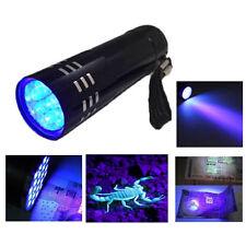 Aluminum UV Ultra Violet 9 LED Flashlight Blacklight Torch Light Lamp Black VFA