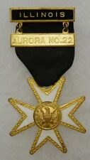 OLDER Vintage KNIGHTS TEMPLAR MEMBERSHIP CROSS MEDAL - AURORA ILLINOIS No.22