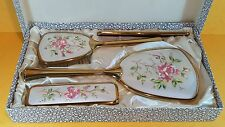 SUPERB UNUSED VINTAGE PETIT POINT EMBROIDERY HAIR BRUSH HAND MIRROR VANITY SET
