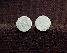 925 Sterling Silver Brushed Tiny Circle Disc Stud Earrings 6mm.