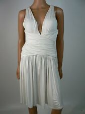 LA Class White Marilyn Monroe Style Deep Vneck Cocktail Dress S 4 6 NWT L273