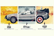 Back To The Future I II III car 3 in 1 Movie Poster Fabric 12x18 Inch Print 4