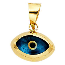 14K Solid Yellow Gold Evil Eye Pendant Charm Protect Lucky Beautiful Powerful