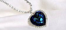 TITANIC Blue Heart & Crystal Necklace Large Pendant Ocean Slight Defects