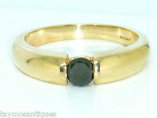 9ct Gold 9k Gold  0.40ct Black Diamond Heavy Gents Mens  Ring size T  4.1 grams