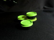 Tupperware NEW Set of 4 Black Smidget Smidgets Small Mini Containers Green Seals