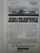 4/1991 PUB NORTHROP STEALTH B-2 BOMBER CAREER BOMBARDIER FURTIF ORIGINAL AD