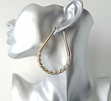 Gorgeous large gold tone lightweight acrylic OVAL shape creole hoop earrings