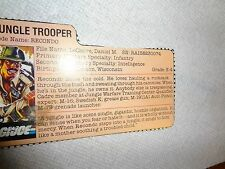 GI JOE ARAH Jungle trooper Recondo filecard