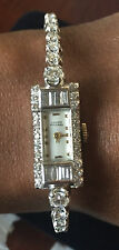 Lucien Piccard Art Deco 3 ct Diamond 14k white gold watch bracelet 5.5-6 in