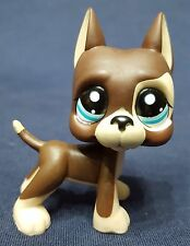 RARE Littlest Pet Shop LPS Great Dane Puppy Dog #817 Brown Tan Blue Dot Eyes