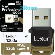 Lexar 32GB 32G 1000x Micro SDHC SD Flash Card TF UHS-II U3 C10 + USB 3.0 Reader