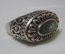 Vintage Sterling Silver Chunky Tall Bali Scroll Setting Abalone Ring Size 7