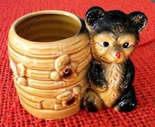 VINTAGE BEAR WITH BEE HIVE HONEY POT / JAM SERVER---MADE IN JAPAN