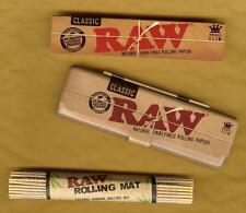 RAW KING SIZE SLIM Rolling Paper+Metal Tin Storage Case+Old School Bamboo Roller