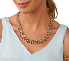 """18"""" Bold Textured Graduated Byzantine Chain Necklace Real 14K Yellow Gold QVC"""