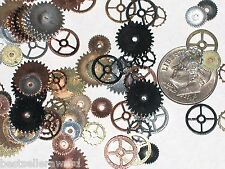 10pc Miniature Dollhouse tiny Steampunk watch gears wheels shiny pieces 7-11mm