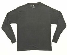 Mens Hanes Premium Long Sleeve Crew Neck T-Shirt L Large Navy NEW
