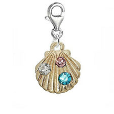 Sea Shell Bead Clip on Pendant for European Charm Jewelry w/ Lobster Clasp