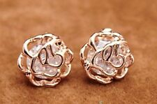18K ROSE GOLD FILLED ROSE FLOWER CZ CRYSTAL STUD EARRINGS