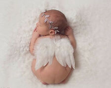 Baby Boy Newborn Flower Headband+angle Wing Costume Photo Prop Outfits Set