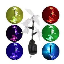 New Solar Garden Stake Color-Changing Light bird Dragonfly Butterfly Set of 3
