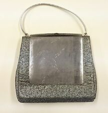 Vintage 1960s Evening Bag Silver Metallic Handbag