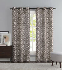 Brown and Ivory Two Piece Window Curtain Panels: Grommets, iKat Geometric Design