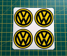 4 x 60mm ALLOY WHEEL STICKERS VW logo Yellow on Black centre cap badge
