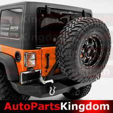 07-17 Jeep JK Wrangler Rock Crawle HD Full Width Rear Bumper+Tire Carrier+Hitch