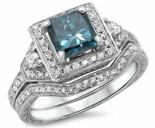 1 1/10ct Blue Princess Cut Diamond Engagement Ring Bridal Set 14k White Gold