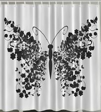Butterfly Floral Wings Fabric SHOWER CURTAIN Flower Black White Bathroom Decor