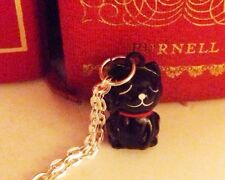 Black 3D Lucky Fortune  Cat Bell Pendant Charm SP Necklace 24'' Witch Halloween