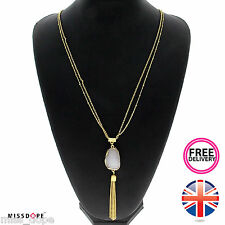 NEW WHITE STONE GOLD TASSEL LONG CHAIN STATEMENT NECKLACE PENDANT WOMENS BEADS
