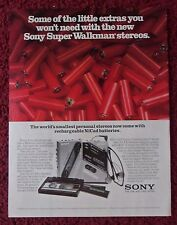 1986 Print Ad SONY Walkman Personal Stereo ~ With Rechargeable NiCAD Batteries