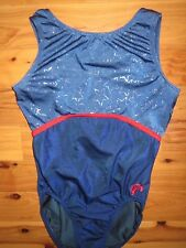 GK Elite Silver Stars Blue & Red AL Adult Large Gymnastics Leotard