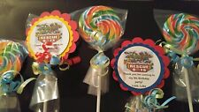 12 Transformer Rescue Bot 4th 5th 6th Birthday Whirly swirl Hard Lollipop Favors