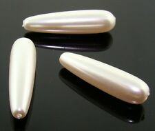 12 VINTAGE JAPANESE WHITE PEARL ACRYLIC 30mm. SMOOTH TEAR DROP BEADS A964
