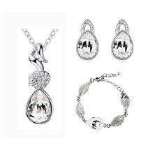 White Teardrop Jewellery Set Crystal Earrings, Bracelet & Necklace Bridal S351