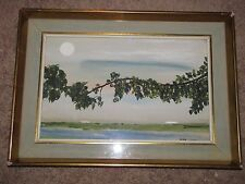 "FLEUR COWLES Original Watercolor Painting on Board Signed ""Imaginary Landscape"""