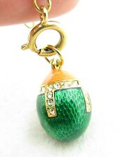 Joan River Queen Romania Green Crystal Accent Guilloche Enamel Egg Charm Pendant