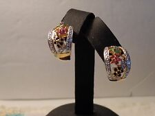 2 Tone Sterling Silver Pierced Earrings w/Sapp,Ruby & Emerald Flowers