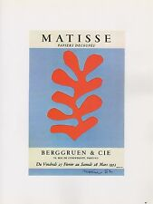"1989 VINTAGE ""MATISSE, PAPIERS DECOUPES"" MOURLOT COLOR offset Lithograph"