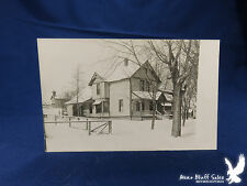 School on the Hill Big Farmhouse in Front Fence SNOW RPPC